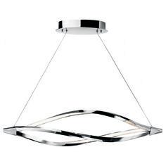 Elan 83386 Meridian One-Light LED Linear Chandelier in Chrome - Polished, Contemporary & Modern Acrylic Chandelier, Linear Chandelier, Chandelier Ceiling Lights, Kitchen Chandelier, Drum Pendant, Lantern Pendant, Pendant Lighting, Island Pendants, Diffused Light