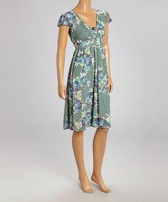 Look at this #zulilyfind! Sage Floral V-Neck Cap-Sleeve Dress #zulilyfinds