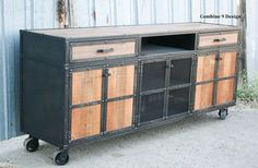 Reclaimed Wood Media Console, rustic credenza. Vintage Industrial furniture. Modern sideboard/Buffet.