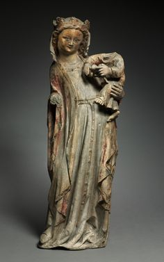 Virgin and Child, c. 1315-1320 France, Lorraine, 14th century limestone with traces of polychromy and gilding, Overall: 75.9 x 28 cm