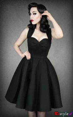 NEW Restyle Black Pinup Halter Dress R-36 Vintage/Rockabilly/Retro/Sexy/L