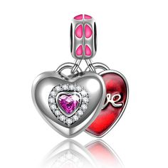 NinaQueen *Love MoM* 925 Sterling Silver Two Heart Shape Combination Cute Fine Charms, Fits Pandora Bracelet (NinaQueen fine jewelry is designed in Paris in limited edition collections.NinaQueen patents its designs in 64 countries around the world. Enjoy the beauty,luxury, and quality of NinaQueen)** Mothers Day Best Gift ** -- Startling review available here  : Jewelry