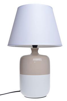 Lampa stołowa nocna ceramiczna beżowo - biała wysoka  . Klosz lampy tkanina + pcv w kolorze białym. Podstawa lampy podłużna ceramiczna. Lampa na mały gwint E14 max 40 W. Kabel długości ok 1,2 m.