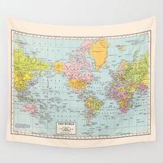 World Map Tapestry Wall Hanging world map wall tapestry - vintage map, dorm room decor, blue and