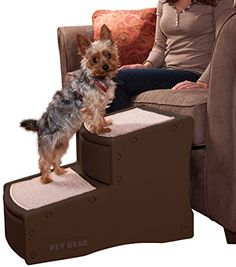 I just bought this and love it. Pet Gear Easy Step II Pet Stairs, 2-step/for cats and dogs up to 150-pounds, Chocolate . you can see what others said about it here http://bridgerguide.com/pet-gear-easy-step-ii-pet-stairs-2-stepfor-cats-and-dogs-up-to-150-pounds-chocolate-2/