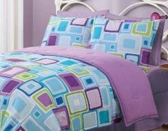 Twin Geo Aqua Square Reversible Comforter Set: Reversible microfiber comforter set with Geo Aqua Square. Reverses to solid color. This set includes:one Comforter and 1 Standard Pillow Sham Kids Comforter Sets, Comforter Cover, Duvet Covers, Bed Sets, Bed Sheet Sets, Bedroom Sets, Girls Bedroom, Bedroom Decor, Neon Bedroom