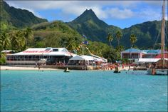 Trader Jacks and the surrounding hills - Rarotonga, Cook Islands. This is one of the nicest locations to enjoy a meal.