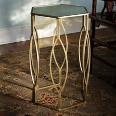 Brass-plated Iron and Glass Hexagonal Side Table (India) $162.99