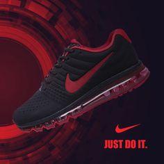 Nike Air Max Men 2017 Black Red Leather