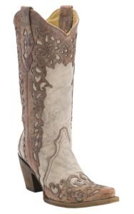 Corral® Ladies Distressed Sand w/ Cognac Lazer Overlay Snip Toe Western Boots | Cavender's