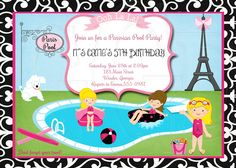 Paris Pool Party Birthday Invitation-Digital File by graciegirldesigns77 on Etsy