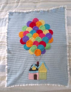 """Happiness is Homegrown: """"Up"""" Inspired baby afghan crochet knit blanket Crochet Afghans, Baby Afghans, Baby Boy Blankets, Afghan Crochet Patterns, Baby Knitting Patterns, Crochet Motif, Baby Blanket Crochet, Crochet Blankets, Quilt Baby"""