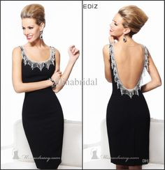 Wholesale Cocktail Dresses - Buy Tarik Ediz 2014 Sheath Column Sexy Coctail Dresses Scoop Shoulders Knee-Length Open Back Gown Pendants Beads Ladies' Formal Dress TE-17, $124.95 | DHgate