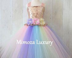 Unique Handmade Princess Dresses by MimozaLuxury on Etsy Birthday Tutu, Birthday Dresses, Unicorn Birthday, Unicorn Party, Vestido Multicolor, Rainbow Tutu, Rainbow Unicorn, Robes Tutu, Girls Dresses