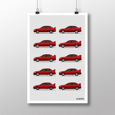 """Mitsubishi Lancer Evolution Generations $21.99 Product Details — Features: CD9A, CE9A, CN9A, CP9A, CT9A, and CZ4A chassis  — Printed With Ultrachrome Inks  — Matte, Acid-Free, 10.3mm Thick Archival Paper  Materials10.3 Mil Thick Heavyweight Archival Paper Measurements18""""W x 24""""H Origin United States"""