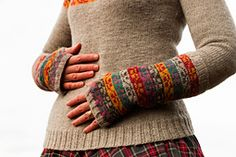 Inspired by a beautiful Kashmir shawl at Gawthorpe Hall, these gauntlets, with matching, accompanying yoke sweater celebrate the life and work of Rachel Kay Shuttleworth, who founded a wonderful textile collection for future generations to enjoy.