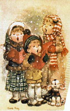Sarah Kay - Bobby, Monica and I went carolling one year when we were small. We bought my mom a little lantern from this shop. I'm sure she didn't know what to do with it but she loved it anyway. She always had the heart of a mom. Sarah Key, Holly Hobbie, Christmas Scenes, Christmas Carol, Christmas Pictures, Xmas, Vintage Christmas Cards, Vintage Cards, Vintage Postcards