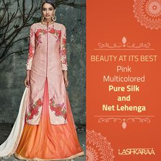 Pink Multicolored Pure Silk and Net Lehenga  Blend into the smooth soft shades, of this pink #PureSilk and #NetLehenga embellished with rosette patterns.   #FashionFever #StyleTag #StyleIcon  Visit Us: http://www.lashkaraa.com/pink-multicolored-pure-silk-and-net-lehenga.html