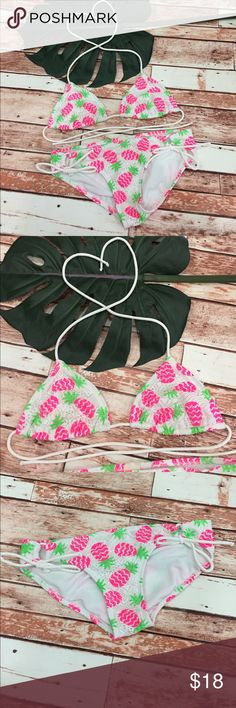 🍍Op pineapple crochet style bikini! 👙 🍍Op pineapple crochet style bikini! 👙. Fun on trend bikini to meet all your summer swim needs. Green and pink neon in white crochet. Preloved in excellent condition. Is a juniors medium. Fits as a women's small. OP Swim Bikinis