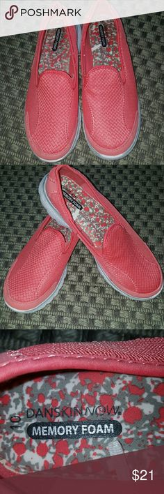 """Danskin Memory Foam Tennis Shoes Selling these as they are in excellent but pre- loved condition, only wore in the house & patio a,few times.They have the thick """" Memory Foam"""" Insoles.  Great Slip on design & very lightweight.  From a pet & smoke free home.Color is a beautiful coral peach💖 If you have any questions please comment below as I usually respond within 24hrs or less.  Thanks for looking & feel free to stop by my closet anytime as items are added weekly 😉 HAPPY POSHING!!!🌻🌻🌻…"""