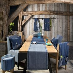 Rustic dining with jeans collection by Knit Factory. www.knitfactory.nl - Table runner, pillows, Cosy Bags