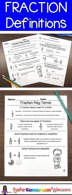 Fraction definitions and examples. Great for math notebooks and binders. CCSS aligned. Great for 3rd, 4th, and 5th grade.