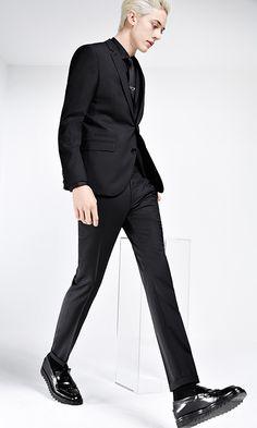 Black three-piece HUGO suit