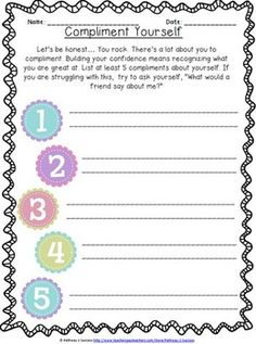 positive self talk flowers worksheet pdf