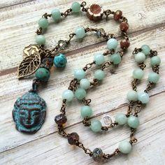 Beach boho necklace beaded aqua necklace mykonos by Rubybluejewels