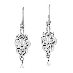 728029030 Handmade Elegant Swirls Drop .925 Sterling Silver Earrings (Thailand)