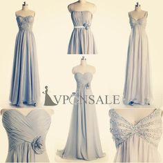 silver long bridesmaid dresses 2014