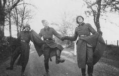 A funny picture of dancing German troops, from the personal photographs of a soldier, 1930s/40s - namraka:I collect old pics from the net as a hobby and I've had this pic on my computer for a while, but couldn't find any info about it. Recently I came across this Spanish site which says it belongs to a German soldier named Willy Wittkop. Some of the photos have filenames that end in 1940, so this pic could be from then too. I have no other info about this pic.