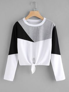 Color Block Knot Front T-shirt Cute Comfy Outfits, Pretty Outfits, Stylish Outfits, Cool Outfits, Girls Fashion Clothes, Teen Fashion Outfits, Outfits For Teens, Sporty Fashion, Ski Fashion