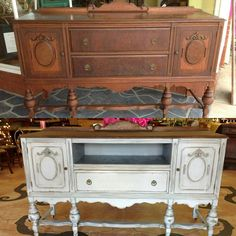 Repurposed and refinished antique buffet. This gorgeous piece was in rough shape. The client wanted it turned into a media console and painted in French gray. The top drawer was removed and new shelf built for electronics. - September 07 2019 at Trendy Furniture, Affordable Furniture, Repurposed Furniture, Shabby Chic Furniture, Furniture Projects, Furniture Makeover, Antique Furniture, Painted Furniture, Diy Furniture