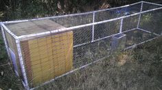 Portable Chicken Coop, pvc and wire with a Box and easy access to pets.