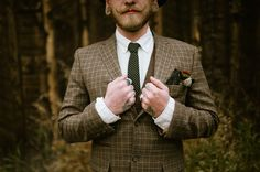plaid jacket // groom style // green brown natural
