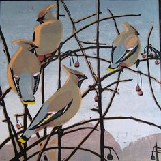 """Oh MY! Look at the Gorgeous """"Light"""" in this Woodcut, it truly looks like dawn.....! Robert Greenhalf (1950-): """"Cedar Waxwings"""", woodcut"""