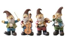 Garden Gnome Band With Instruments Figurines