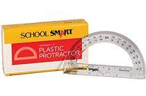 School Smart Plastic 180 Degree Protractor with 6 inch Ruler, Clear, Pack of 12
