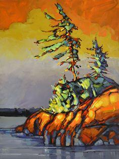 Watercolor Landscape Paintings, Landscape Art, Watercolour Painting, Oil Paintings, Mini Toile, Canadian Art, Canadian Painters, Orange Art, Winter Painting