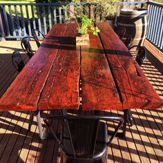Rustic redgum train sleeper outdoor table