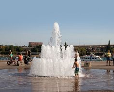 Portland's public fountains : Portland's many public fountains are refreshing places for kids of all ages to cool off.