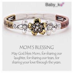 ✨Mom's Blessing Bracelet NWT - Tri toned Mom's Blessing flower with crystala stretch bracelet Jewelry Bracelets