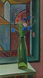 Flowers in a vase - Veikko Vionoja , 1972 Finnish, Oil on board, 56 x 34 cm. Flower Vases, Flowers, Art Auction, Still Life, Art Projects, Art Photography, Glass Vase, Watercolor, Fine Art