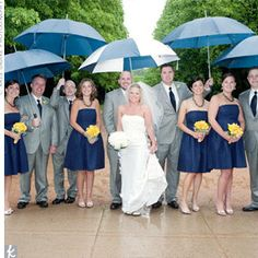I like the grey suits...And might be a good idea to have umbrellas handy, just in case (that way it won't rain)