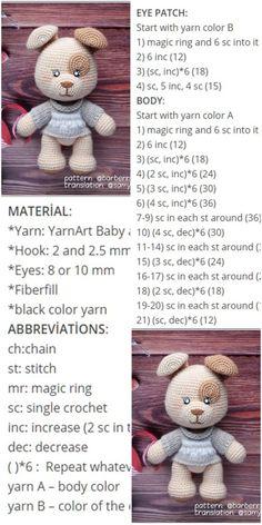 plus Amigurumi Crochet Patched Tiny Dog (kostenlose Anleitung) – Crochet.plus Amigurumi Crochet Patched Tiny Dog (Free Pattern) – Crochet.plus Source by Crochet Bear Patterns, Amigurumi Patterns, Crochet Animals, Crochet Teddy, Crochet Dolls, Amigurumi Free, Amigurumi Doll, Tiny Dog, Free Crochet