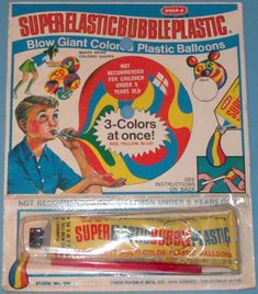 WHAM-O: 1970 Super Elastic Bubble Plastic #Vintage #Toys loved the scent of the presumably toxic fumes from these things