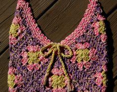 Pastel del ganchillo del algodón Granny Square bolsa algodón orgánico Rosa primavera flor tonos pastel, bordes de encaje