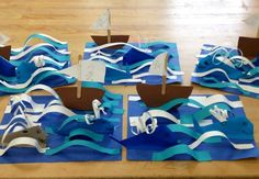 Paper sculpture example- Origami Whales with boat in 3D ocean- elementary art(art teacher: v. giannetto):