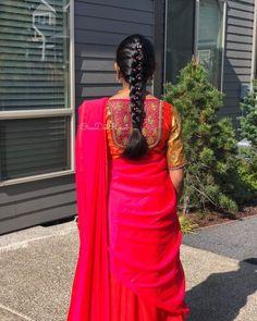 Saree Blouse Designs Indian Weddings & Weddings Saree Indian – beautiful hair styles for wedding Fancy Blouse Designs, Dress Neck Designs, Bridal Blouse Designs, Saree Blouse Designs, South Indian Wedding Hairstyles, Bridal Hairstyle Indian Wedding, Indian Hairstyles, Simple Bridal Hairstyle, Bridal Hair Buns
